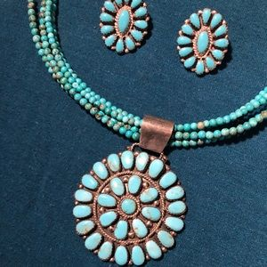 Navajo Turquoise Cluster Necklace & Earrings